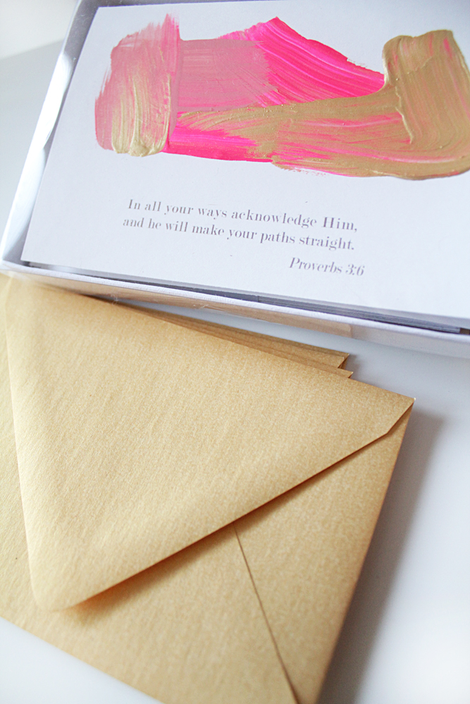 HAND PAINTED NOTECARDS (PINK+GOLD)