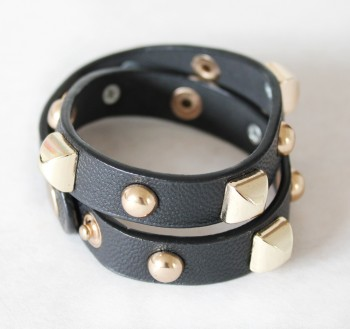 LEATHER WRAP (BLACK + GOLD)