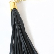 Leather Tassel Keychain (Black)