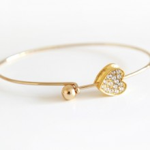 Gold Love Heart Bangle