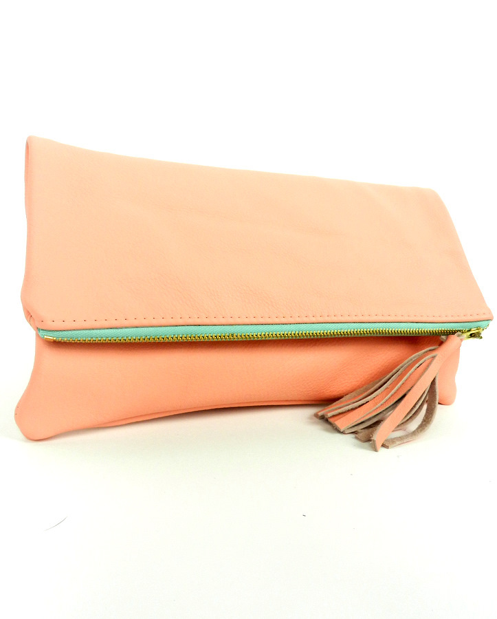 PINK PASTEL FOLD OVER CLUTCH W/SEA GREEN ZIPPER