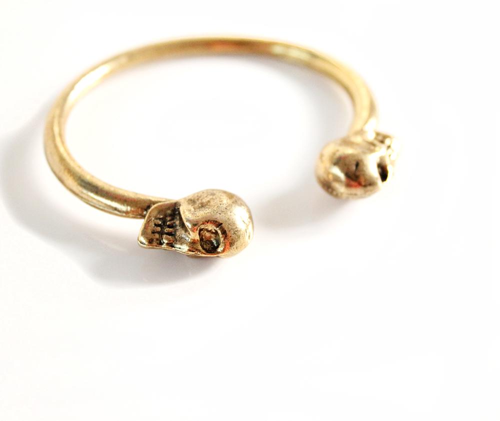 Gold Double Skull Bracelet