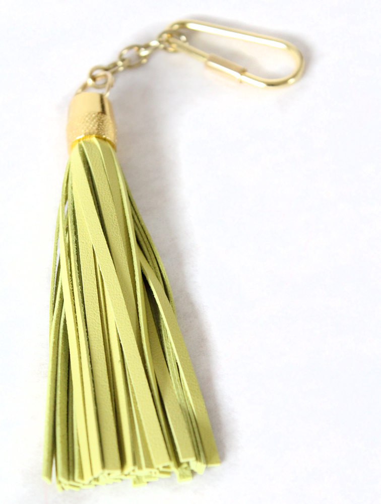LEATHER TASSEL KEYCHAIN (CHARTREUSE)